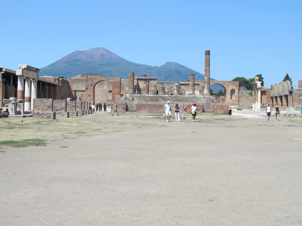 Forum with Vesuvius in distance