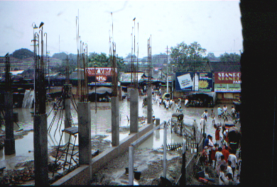 Mazafarpur street, unfinished buildings and floods