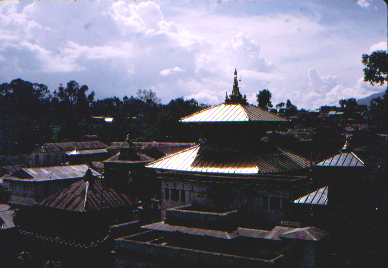 Sun glinting on the golden roof of the temple