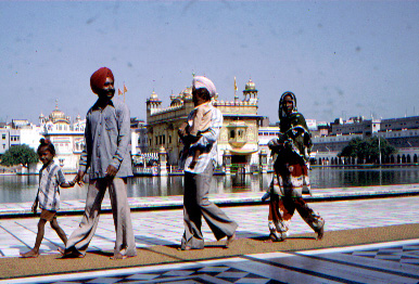 Sikh family visiting the Golden Temple