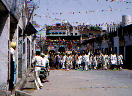 Sikh's marching through the town