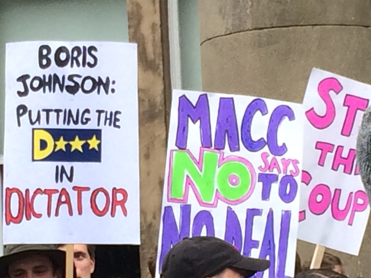 Banners at Macclesfield democracy rally