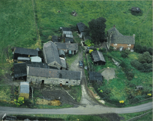 Arial view of Ladymoor Gate Farmhouse and buildings in 1972